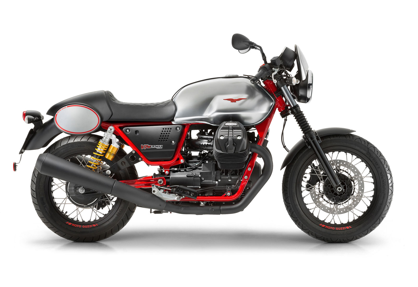 Moto de perfil, modelo Racer, color gris con detalles en rojo. Marca Motoguzzi
