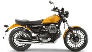 Moto modelo Roamer, color gris y rojo. Marca Motoguzzi